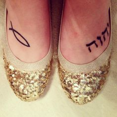 Jesus fish and Yahweh in Hebrew tattoos.  I love tattoos in biblical languages :) Also these shoes are amazing!