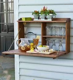 hanging patio bar so cute and easy to build with wood from lows. Just paint, hinge and nail. -rach