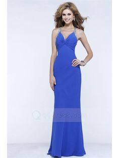 Sheath V-neck Floor-length Pleated Prom Dress with Beaded Straps