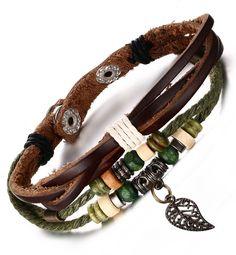 Genuine Leather Bangle Stainless Steel Bracelet