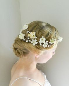 Cherry Blossom Double Flower Crown  White Ivory by VioletteandIris, $100.00