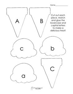 free printable upper and lower case letter ice cream cones....abc's