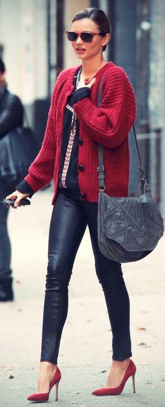 faux leather leggings, heels, grandpa cardigan.