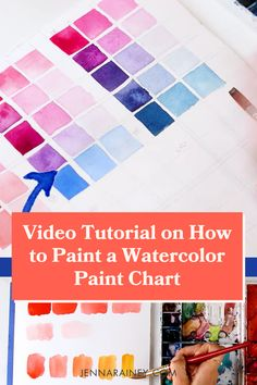 The best video tutorial on how to paint watercolor paint color chart. In this video, I teach you how to create one including the technical math I use to create even little squares. Also, with watercolor, I don't use white to lighten colors! I just use water which you'll learn in the tutorial. You can get so much depth with only a few colors! Watercolor Flowers Tutorial, Step By Step Watercolor, Watercolor Video, Watercolour Tutorials, Watercolor Design, Watercolor Techniques, Painting Tutorials, Flower Tutorial, Paint Color Chart