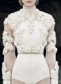 Sheer dress detail with wool beads & pearl clusters for lavish white textures; haute couture embellishment // Givenchy