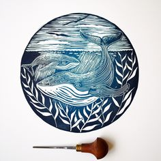 Humpback whale Lino print Lino cut