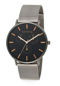 English Laundry | Gunmetal-Tone Stainless Steel Interchangeable Mesh Bracelet & Striped Nylon Strap Watch | SAKS OFF 5TH