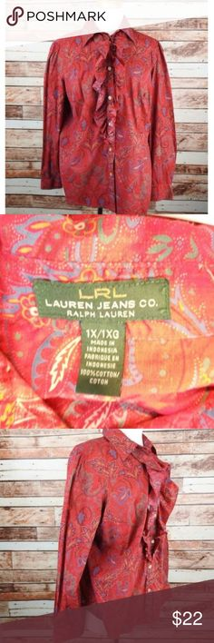 """Ralph Lauren LRL Jean Co. Plus Sz 1X Blouse Ruffle Ralph Lauren Lrl Jean Co. Plus Size 1X Red Paisley Long Slv Blouse With Ruffles  APPROXIMATE MEASUREMENTS (Taken Laying Flat and Unstretched): Armpit to Armpit: 24"""" Sleeve:  23.5"""" Length:  26.5""""  FEATURES: Size (Women's): 1X Color: Red (Paisley Print) Button Front with Ruffles Long Sleeves                                                       100% Cotton Machine Wash Lauren Ralph Lauren Tops Blouses"""