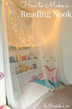 Hang xmas lights in reading corner along slanted ceiling and wall. Its surprisingly easy to put together a reading nook for kids that will draw them in and give them a special place to get lost in a book!
