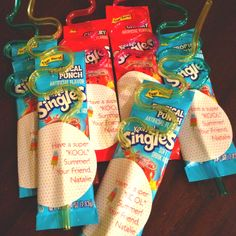 Kool aid singles $3 for 12, straws $3.99 for 12 at Target - end of year treat from kids.