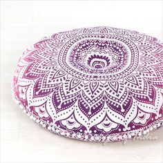 Bean Bags & Floor Cushions – Mandala Floor Pillows Round Bohemian Cushion Cover – a unique product by IndianCraftPalace on DaWanda