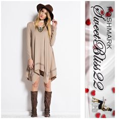 Cappuccino Bliss This is the only dress you need this season! Fabulous quality! HEAVY RAYON SCOOP NECK DRESS WITH LONG SLEEVE AND ASYMMETRICAL CUT WITH BOTTOM CROCHET TAPE DETAIL ⭐️95% RAYON, 5% SPANDEX Comes in S,M,L Don't miss out! Dresses