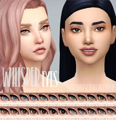 Whisper Eyes• For everybody • Defaults, non defaults and contacts in the Face Paint section • Removed specular • Maxis Match (ish?) Please don't re-upload anywhere as your own :) If you use these in...