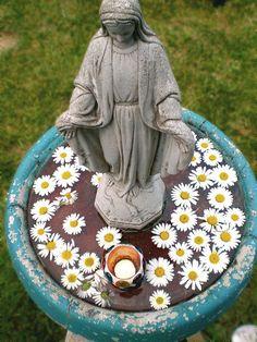 How pretty... Mary statue in bird bath ~ Marian garden