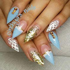 #blue #babyblue #gold  #summer #flower #badassnails #nailsonfleek #hudabeauty…