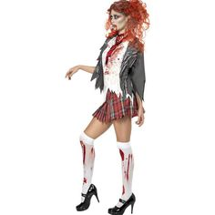 White Horror Zombie Costume ($31) ❤ liked on Polyvore featuring costumes, white, zombie halloween costumes, zombie costume, sexy costumes, horror costumes and sexy zombie costume