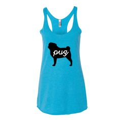 One of our most popular women's tank tops. Our signature pug tank tops are proudly worn all over the world. This triblend tank is soft and brea Custom Bags, Pugs, Athletic Tank Tops, Kids Outfits, Sporty, Cotton, How To Wear, Eyes Emoji, Bar Grill