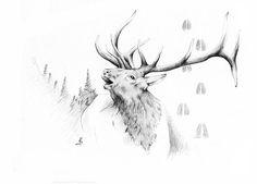 Elk Bugle by Robert Martinez Elk Bugle, Pictures To Draw, Art Pictures, Elk Drawing, Wilderness Tattoo, Hunting Tattoos, Natur Tattoos, Antler Art, Deer Art