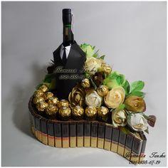 Detalle día del padre – Gift For Men Chocolate Tree, Chocolate Gifts, Gift Bouquet, Candy Bouquet, Chocolate Flowers Bouquet, Fresh Fruit Cake, Edible Bouquets, Wine Bottle Crafts, Christmas Design