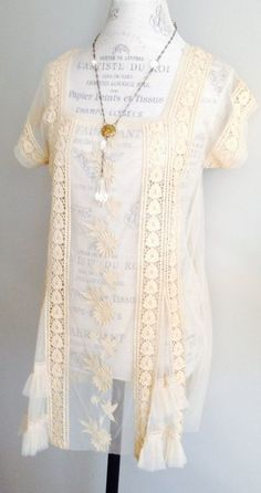 Sheer Tambour Bohemian  Lace tunic Hippie Gypsy, well for me It's sorta white? What would  U think it might be?