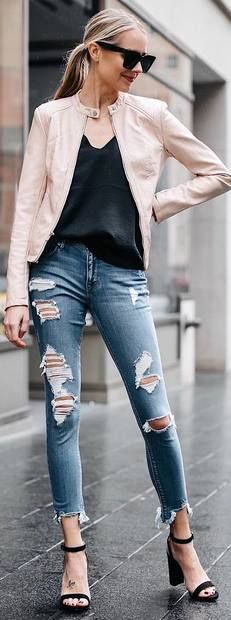 black top, ripped jeans, sandals, pastel leather jacket