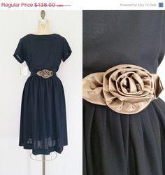 1950s Black Dress // Bronze Rose by ThriftyVintageKitten