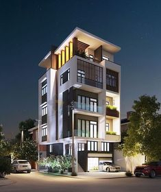 Modern architecture of the building in the center of the city! It's so trending and nice in 3 Storey House Design, House Front Design, Small House Design, Modern House Design, Architecture Building Design, Facade Design, Residential Architecture, Exterior Design, 3d Home
