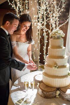 Bride and Groom cutting their Wedding Cake, Bluebird Weddings, Aspen