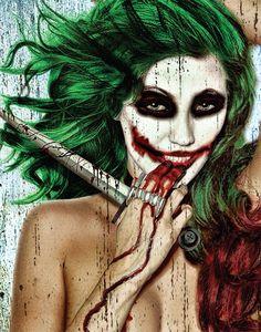 Daveed Benito Joker Girl Why So Serious Sexy Gothic Pin-Up Art Postcard Poster Print Classico Halloween Makeup Clown, Joker Halloween, Halloween Themes, Halloween Costumes, Joker Makeup, Gothic, Joker Poster, Arm Art, Joker Art