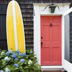 Shrimp colored front door draws