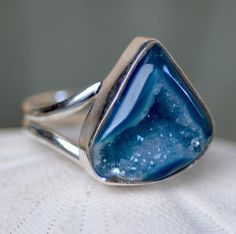 Geode Agate Ring. Blue Crystal Quartz Coctail Ring.  Organic Druzy Ring. Holiday Fine Jewelry.. $54.00, via Etsy.