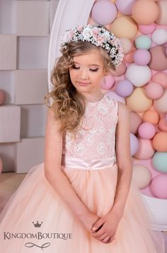 Items similar to Blush Flower Girl Dress - Birthday Bridesmaid Holiday Wedding Party Blush Lace Tulle Flower Girl Dress on Etsy Flower Girl Updo, Blush Flower Girl Dresses, Tulle Flower Girl, Blush Flowers, Girls Dresses, Cute Little Girl Hairstyles, Flower Girl Hairstyles, Communion Hairstyles, Girls Updo