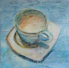 White Coffee, acrylics and mixed media on canvas tutorial by SANDRINE PELISSIER
