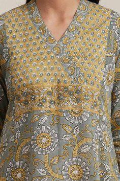 Designer Wear: Shop Designer Ethnic Wear by Farida Gupta Kurtha Designs, Chudidhar Neck Designs, Neck Designs For Suits, Dress Neck Designs, Designs For Dresses, Long Kurti Patterns, Salwar Pattern, Simple Kurti Designs, Kurta Designs Women