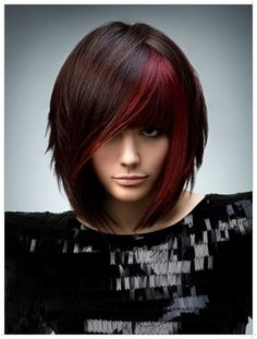 I don't want bangs, but I like this length. I also like the deeper brown and that deep red, but not chunky like this, just a few thin highlights????