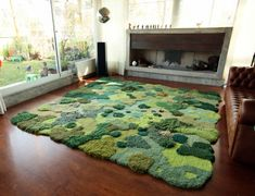 One-of-Kind wool rug artworks by Alexandra Kehayoglou that mimic rolling pastures and mossy textures. Using scraps leftover thread from her family's carpet factory in Buenos Aires, artist Alexandra. Fantasy Forest, Aesthetic Room Decor, Home And Deco, My New Room, Bedroom Decor, Bedroom Rugs, House Design, Home Decor, Wool Rugs