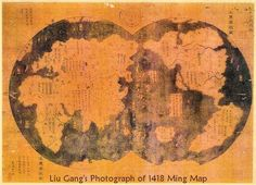 Fig. 2.2 Liu Gang, a Chinese attorney, purchased this map from a Shanghai antique dealer in 2001. A description on the map says that it is a copy of an original 1418 Ming-dynasty map which the artist Mo Yi-tong copied in 1763. The map includes details from early Ming explorers, explorers from the preceding Yuan dynasty, and Muslim navigators. (www.marcopolovoyages.com)