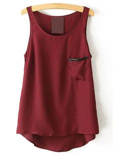 Shop Red Round Neck Pocket Chiffon Tank Top online. SheIn offers Red Round Neck Pocket Chiffon Tank Top & more to fit your fashionable needs.