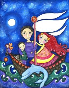 Peter Pan Art Print Whimsical Folk Art by LindyLonghurst on Etsy