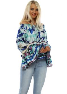 Stylish blue swirl print bardot top available now on Designer Desirables. Browse more bardot tops online & free UK delivery on all orders Bardot Top, Going Out Tops, Blue Blouse, Bell Sleeve Top, Skinny Jeans, Boutique, Stylish, Beach, Floral