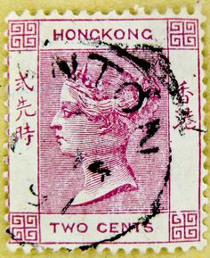 old stamp Hong Kong 2c Queen Victoria QV postage stamps two 2 cents pink