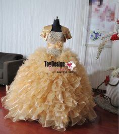 Wholesale 2017 Sweet 15 Dress New Gold Quinceanera Dresses Wedding Formal Prom Ball dress Pageant dress Custom