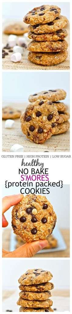 Healthy No Bake S'mores Protein Cookies- All the flavours and textures of a S'mores bar in a healthy no bake protein cookie- These cookies are high in protein, gluten free, low in sugar and ready in less than 5 minutes- Perfect for snacking! @thebigmansworld -thebigmansworld.com