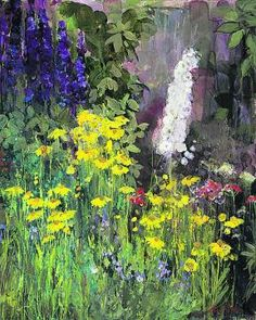 ann oram | Ann Oram's Still Life Work Abroad, Eastern Europe, Trees To Plant, Impressionist, Flower Art, Still Life, Contemporary Art, Vibrant Colors, Delphiniums