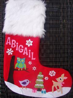 Woodland Friends Christmas Stocking -  Custom Personalized Felt Stocking. $55.00, via Etsy.