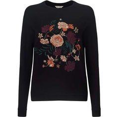 Floral Embroidered Sweatshirt ($39) ❤ liked on Polyvore featuring tops, hoodies, sweatshirts, miss selfridge tops and miss selfridge