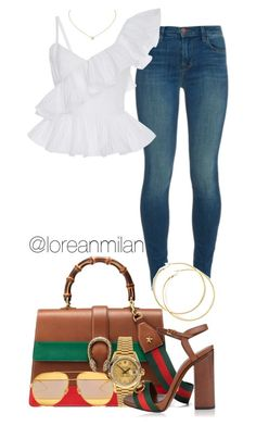 """""""lunch date."""" by loreanmilan ❤ liked on Polyvore featuring J Brand, Johanna Ortiz, Gucci, Rolex and Christian Dior"""