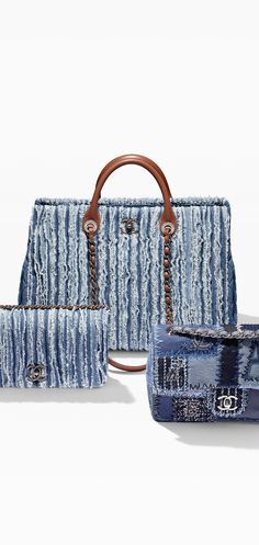 Large fringed denim shopping tote - CHANEL