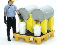 Polyethylene Drum Racks  Polyethylene Drum Rack capture spills, keeping your workplace clean and safe, All models tilt the drums slightly forward, allowing maximum drainage-optimizing your use of chemicals while minimizing waste, The PDR's improve worker safety by keeping slippery chemicals and oils off the floor. Drum spill pallet comes standard with two and four drum rack systems.
