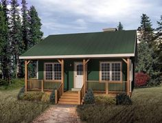 House Plan 49119   Country    Plan with 676 Sq. Ft., 1 Bedrooms, 1 Bathrooms